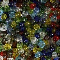 Rocailles, d: 4 mm, dim. 6/0 , diamètre intérieur 0,9-1,2 mm, brillant transparent, 1000 gr/ 1 Pq.