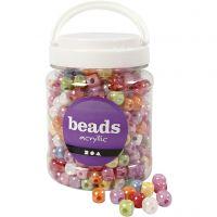 Perles plastique, dés, dim. 10x10 mm, diamètre intérieur 4 mm, couleurs assorties, 700 ml/ 1 boîte, 400 gr
