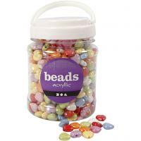 Perles plastique, dim. 15x15 mm, diamètre intérieur 3 mm, couleurs assorties, 700 ml/ 1 boîte, 465 gr