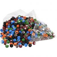 Perles - Assortiment, dim. 8x10 mm, diamètre intérieur 5 mm, couleurs assorties, 300 gr/ 1 Pq.