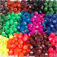 Perles, dim. 8x10 mm, diamètre intérieur 5 mm, couleurs assorties, 20x21 gr/ 1 Pq.