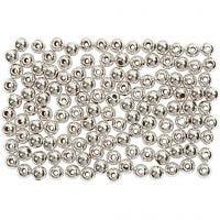 Perles de cire, d: 3 mm, diamètre intérieur 0,7 mm, argent, 150 pièce/ 1 Pq.