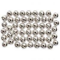 Perles de cire, d: 5 mm, diamètre intérieur 0,7 mm, argent, 100 pièce/ 1 Pq.