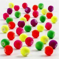 Perles fluos, d: 6 mm, diamètre intérieur 1,2 mm, 50 gr/ 1 Pq.