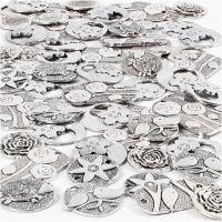 Pendentifs, dim. 20-37 mm, diamètre intérieur 2+2,5 mm, Le contenu peut varier , argent antique, 278 pièce/ 1 Pq.