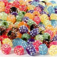 Perles en Rhinestone pierres de strass, dim. 9x13 mm, diamètre intérieur 5 mm, Le contenu peut varier , couleurs assorties, 300 pièce/ 1 Pq.