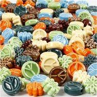 Perles céramiques, dim. 7x15 mm, diamètre intérieur 2 mm, Le contenu peut varier , couleurs assorties, 224 pièce/ 1 Pq.