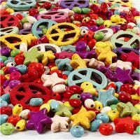 Perles d'Howlite, dim. 4-25 mm, diamètre intérieur 1,5 mm, Le contenu peut varier , Couleurs vives, 840 pièce/ 1 Pq.