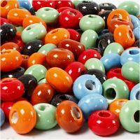 Liens en céramique, d: 15 mm, diamètre intérieur 5,5 mm, Le contenu peut varier , couleurs assorties, 300 pièce/ 1 Pq.