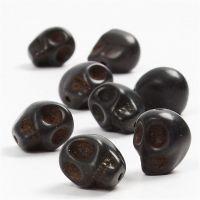 Howlite, d: 12 mm, diamètre intérieur 1,5 mm, noir, 32 pièce/ 1 Pq.