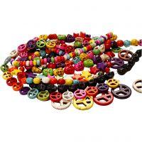 Perles d'Howlite, d: 12-15 mm, diamètre intérieur 1,5 mm, noir, Couleurs vives, 8 rangs/ 1 Pq.