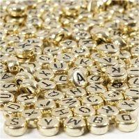 Perles lettres, d: 7 mm, diamètre intérieur 1,2 mm, or, 21 gr/ 1 Pq.