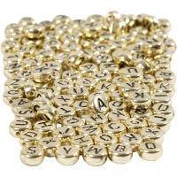 Perles lettres, d: 7 mm, diamètre intérieur 1,2 mm, or, 165 gr/ 1 Pq.