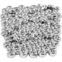 Perles lettres, d: 7 mm, diamètre intérieur 1,2 mm, argent, 165 gr/ 1 Pq.