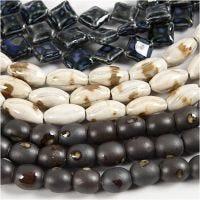Perles de poterie, L: 12-19 mm, diamètre intérieur 2 mm, bleu, beige pierre, blanc cassé, 99 pièce/ 1 Pq.