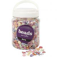 Perles Pastel mix, dim. 9-12 mm, diamètre intérieur 1,2 mm, 700 ml/ 1 boîte, 500 gr