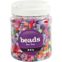 Perles Multi Mix, dim. 8x8 mm, diamètre intérieur 2,5 mm, 700 ml/ 1 boîte, 500 gr