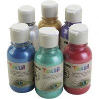 Peinture textile PRIMO métallisée, couleurs assorties, 6x125 ml/ 1 Pq.