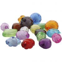 Perles acryliques à facettes, dim. 8-20 mm, diamètre intérieur 2-3 mm, couleurs assorties, 1000 gr/ 1 Pq.