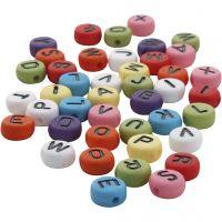 Perles rondes avec lettre, d: 7 mm, diamètre intérieur 1-2 mm, couleurs assorties, 25 gr/ 1 Pq.