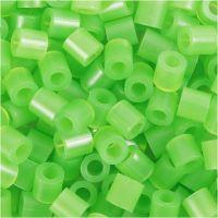 Perles à repasser, dim. 5x5 mm, diamètre intérieur 2,5 mm, medium, vert néon (32237), 1100 pièce/ 1 Pq.