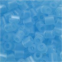 Perles à repasser, dim. 5x5 mm, diamètre intérieur 2,5 mm, medium, bleu néon (32235), 6000 pièce/ 1 Pq.