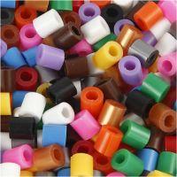 Perles à repasser Nabbi avec entaille MIDI, dim. 5x5 mm, diamètre intérieur 2,5 mm, medium, couleurs classiques, 6000 ass./ 1 Pq.