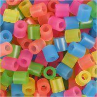 Perles à repasser, dim. 5x5 mm, diamètre intérieur 2,5 mm, medium, couleurs néons, 1100 ass./ 1 Pq.