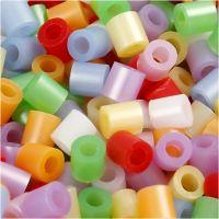 Perles à repasser, dim. 5x5 mm, diamètre intérieur 2,5 mm, medium, couleurs nacrées, 6000 ass./ 1 Pq.