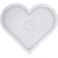 Plaque à picots, large coeur, H: 15 cm, transparent, 10 pièce/ 1 Pq.
