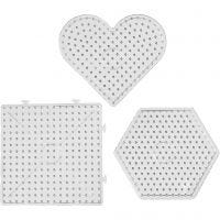 Plaques à picots, dim. 15x15-17,5x17,5 cm, JUMBO, transparent, 6 pièce/ 1 Pq.