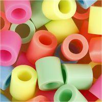 Perles à repasser, dim. 10x10 mm, diamètre intérieur 5,5 mm, JUMBO, couleurs pastel, 2450 ass./ 1 seau