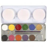 Maquillage visage à base d'eau, couleurs assorties, 12 couleur/ 1 set