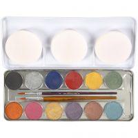 Maquillage visage à base d'eau, couleurs nacrées, 12 couleur/ 1 set