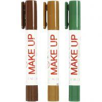 Maquillage Playcolor, brun clair, brun foncé, vert, 3x5 gr/ 1 Pq.