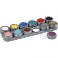 Palette de maquillage pour visage à base d'eau, couleurs assorties, 12x2,5 ml/ 1 pièce