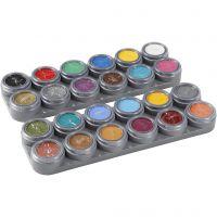 Palette de maquillage pour visage à base d'eau, couleurs assorties, 24x2,5 ml/ 1 pièce