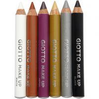 Crayons de maquillage, L: 9 cm, couleur extra, 6 pièce/ 1 Pq.