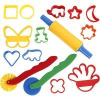 Roulettes et outils, dim. 3,5x3,5-7x9 cm, couleurs assorties, 15 pièce/ 1 Pq.