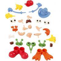 Parties du corps, dim. 0,8-6,8 cm, couleurs assorties, 26 pièce/ 1 Pq.