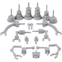 Parties de robot, dim. 0,5-6 cm, gris, 19 pièce/ 1 Pq.