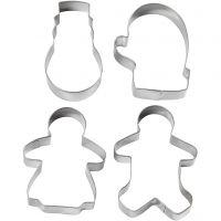 Emporte-pièces, bonhomme de neige, gant, bonhommes pain d'épice femme et homme, H: 8 cm, 4 pièce/ 1 Pq.