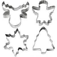 Emporte-pièces, Sapin de Noël, ange, renne, flocon de neige, H: 8 cm, 4 pièce/ 1 Pq.