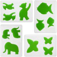 Moules décoratifs, animaux, H: 6+8+10 cm, prof. 9 mm, dim. 14,9x22 cm, 4 pièce/ 1 Pq.