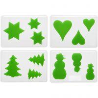 Moules décoratifs, Noël, H: 6+8+10 cm, prof. 9 mm, dim. 14,9x22 cm, 4 pièce/ 1 Pq.