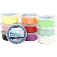 Foam Clay®, paillettes, couleurs assorties, 10x35 gr/ 1 Pq.