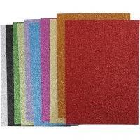 Feuilles de mousse EVA, A4, 210x297 mm, ép. 2 mm, paillettes, couleurs assorties, 10 flles ass./ 1 Pq.