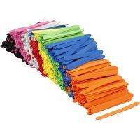 Bâtonnets de glace en mousse EVA, L: 11,5 cm, L: 1 cm, ép. 2 mm, couleurs assorties, 1000 pièce/ 1 Pq.