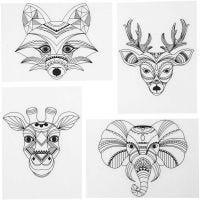 Feuilles de plastique thermorétractable avec motifs, animaux sauvages, 10,5x14,5 cm, ép. 0,3 mm, transparent mat, 4 flles/ 1 Pq.