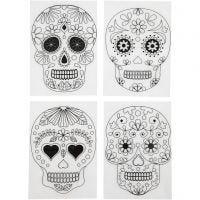 Feuilles de plastique thermorétractable avec motifs, crânes, 10,5x14,5 cm, ép. 0,3 mm, transparent mat, 4 flles/ 1 Pq.